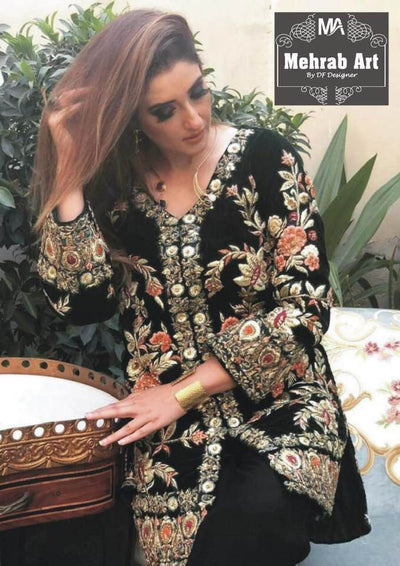 d4ecffa78c Agha Noor Velvet Dresses - Embroidered Chiffon Dupatta - Replica -  Unstitched