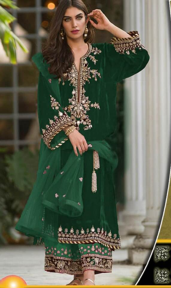 Sana Abbas Velvet Dresses - Embroidered Net Dupatta - Replica - Unstitched