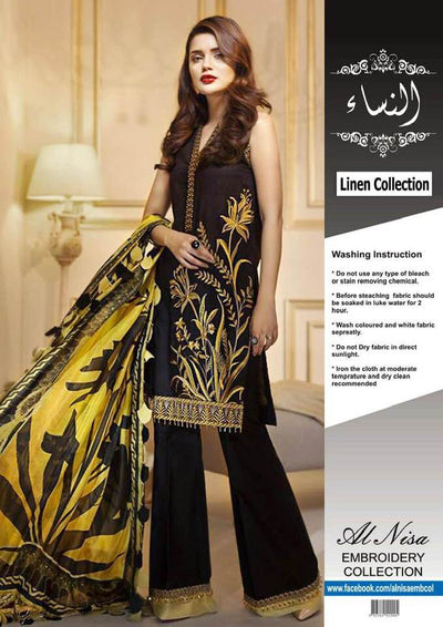 Anaya Linen Dresses - Embroidered Linen With Chiffon Dupatta - Replica - Unstitched