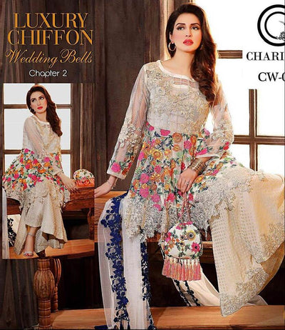 Charizma Chiffon Dresses - Embroidered Chiffon Dupatta - Replica - Unstitched