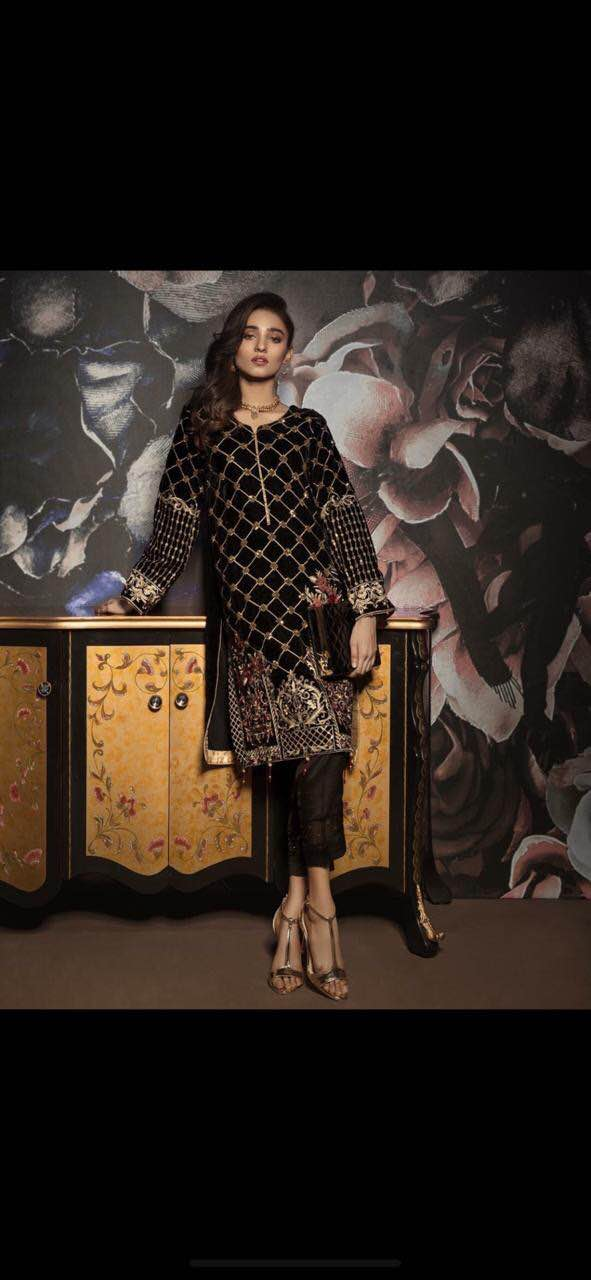 Gulaal Velvet Dresses - Embroidered Chiffon Dupatta - Replica - Unstitched