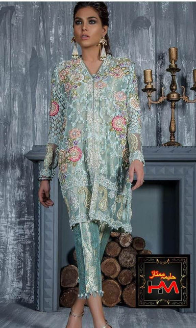 Annus Abrar Net & Organza Dresses - Embroidered Net Dupatta - Replica - Unstitched