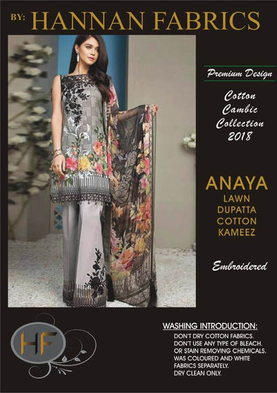 Anaya Cambric Cotton Dresses - Embroidered Lawn Dupatta - Replica - Unstitched