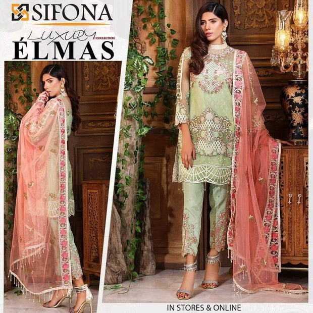 Sifona Net Dresses - Embroidered Net Dupatta - Replica - Unstitched
