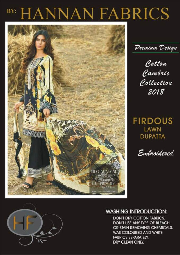 Firdous Cambric Cotton Dresses - Embroidered Lawn Dupatta - Replica - Unstitched