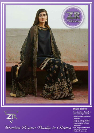 Zara Shahjahan Cotton Dresses - Embroidered Cotton With Net Dupatta - Replica - Unstitched
