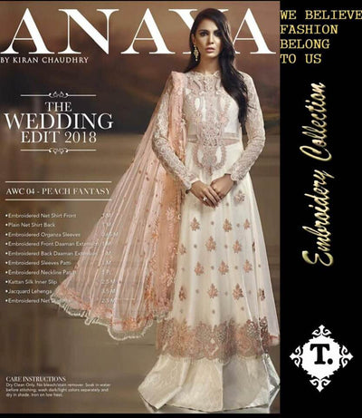Anaya Chiffon Dresses - Embroidered Silk Dupatta - Replica - Unstitched