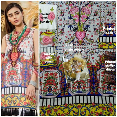 Mina Hasan Cotton Dresses - Embroidered Chiffon Dupatta - Replica - Unstitched