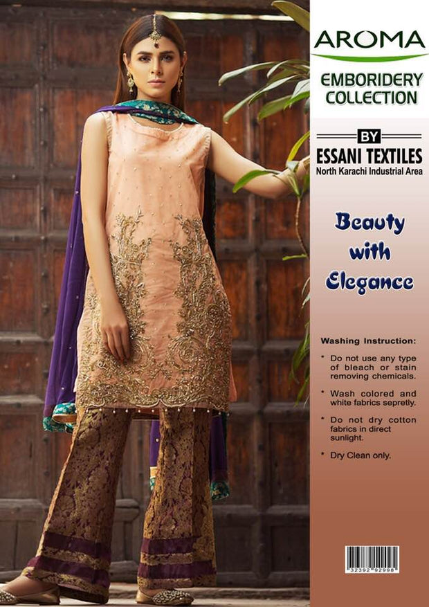 Aroma Silk Dresses - Embroidered Chiffon Dupatta - Replica - Unstitched