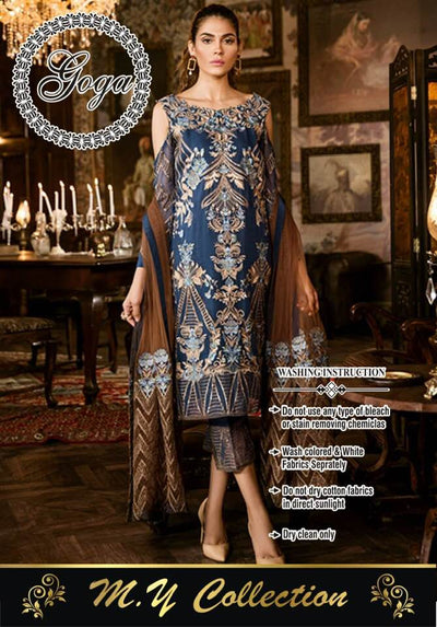 Iznik Chiffon Dresses - Embroidered Net Dupatta - Replica - Unstitched