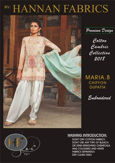 Maria B Cambric Cotton Dresses - Embroidered Lawn Dupatta - Replica - Unstitched