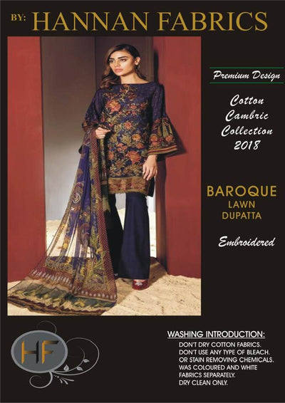 Baroque Cambric Cotton Dresses - Embroidered Lawn Dupatta - Replica - Unstitched