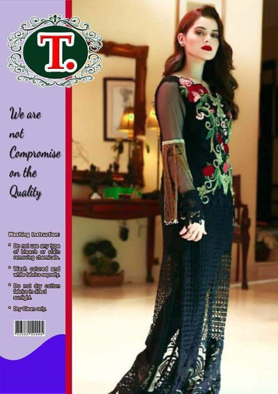 Aiman Khan Chiffon Dresses - Embroidered Net Dupatta - Replica - Unstitched