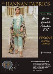 Firdous Cotton Dresses - Embroidered Chiffon Dupatta - Replica - Unstitched