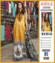 Maria B Cotton Dresses - Embroidered Lawn Dupatta - Replica - Unstitched