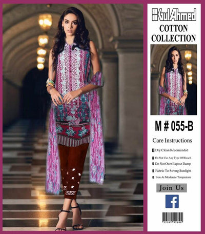 Gul Ahmed Cotton Dresses - Embroidered Lawn Dupatta - Replica - Unstitched