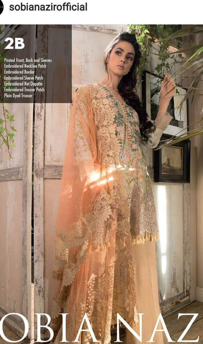 Sobia Nazir Lawn Dresses - Embroidered Net Dupatta - Replica - Unstitched