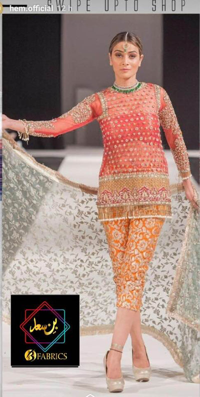 Mehrunnisa Organza Dresses - Embroidered Chiffon Dupatta - Replica - Unstitched