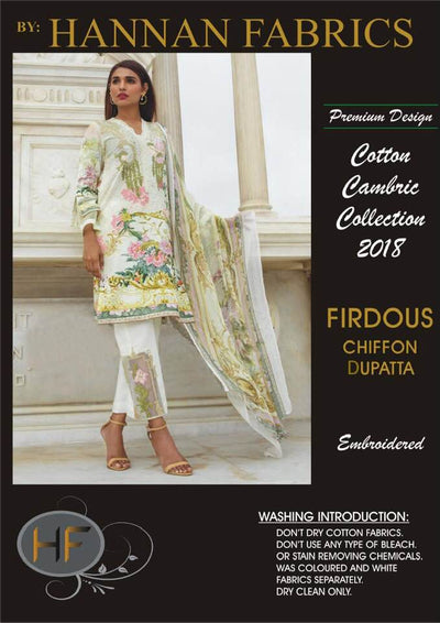Firdous Cambric Cotton Dresses - Embroidered Chiffon Dupatta - Replica - Unstitched