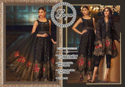 Baroque Chiffon Dresses - Embroidered Net Dupatta - Replica - Unstitched