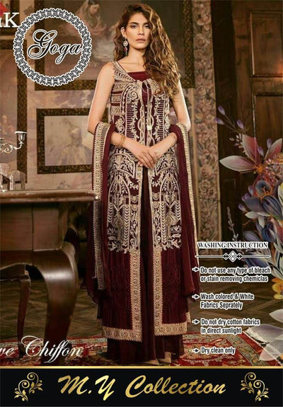 Iznik Chiffon Dresses - Embroidered Chiffon Dupatta - Replica - Unstitched