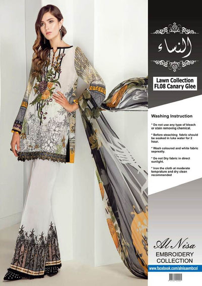 Baroque Lawn Dresses - Embroidered Chiffon Dupatta - Replica - Unstitched