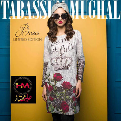 Tabassum Mughal Digital Print Silk Kurti Collection - Replica - Unstitched