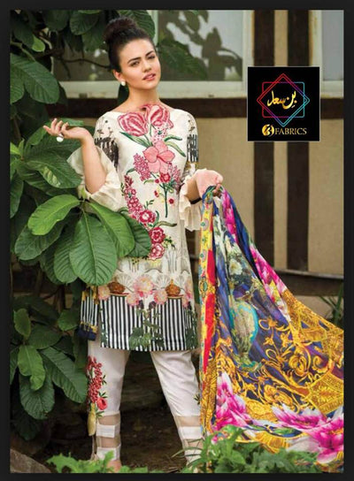Asifa & Nabeel Lawn Dresses - Embroidered Silk Dupatta - Replica - Unstitched