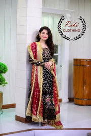 Walima Chiffon Dresses - Embroidered Net Dupatta - Replica - Unstitched