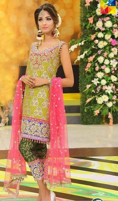 Kashee's Chiffon Dresses - Embroidered Net Dupatta - Replica - Unstitched