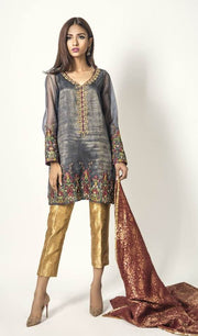 Mina Hasan Mysoori Dresses - Embroidered Jamawar Dupatta - Replica - Unstitched