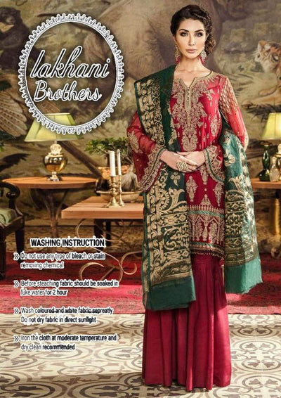 Imrozia Chiffon Dresses - Embroidered Mysoori Dupatta - Replica - Unstitched