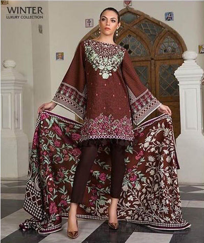Party Wear Khaddar Dresses - Embroidered Khaddar Dupatta - Replica - Unstitched