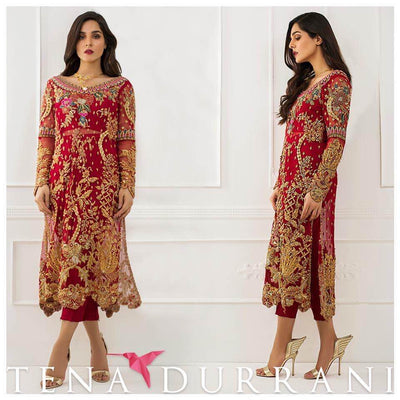 Tena Durrani Chiffon Dresses - Embroidered Chiffon Dupatta - Replica - Unstitched