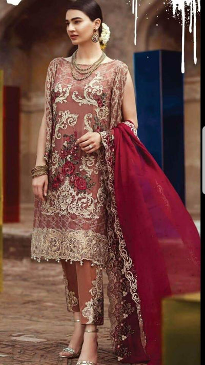 Imrozia Chiffon Dresses - Embroidered Chiffon Dupatta - Replica - Unstitched