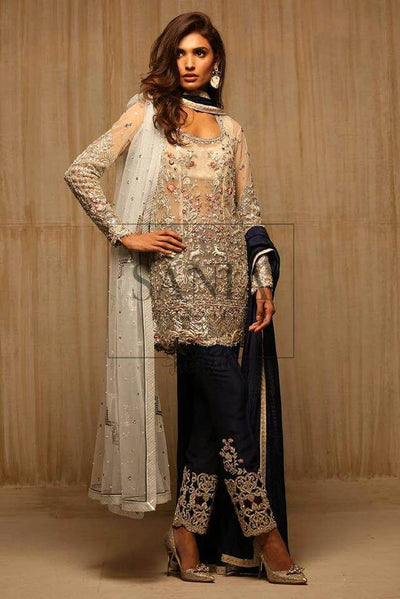 Sania Maskatiya Net Dresses - Embroidered Net Dupatta - Replica - Unstitched