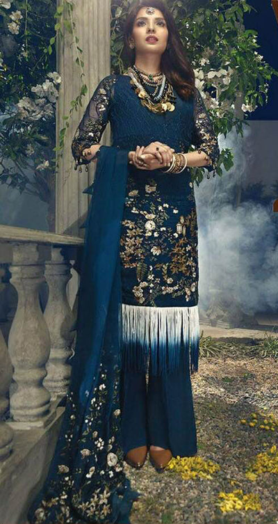 Walima Chiffon Dresses - Embroidered Chiffon Dupatta - Replica - Unstitched