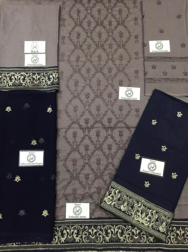 Party Wear Cotton Dresses - Embroidered Chiffon Dupatta - Replica - Unstitched