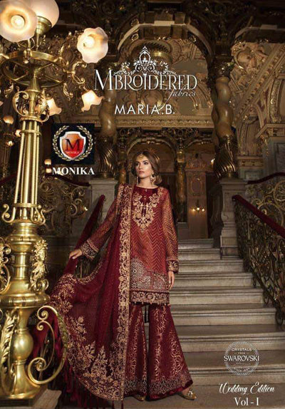 Maria B Velvet Dresses - Embroidered Velvet Dupatta - Replica - Unstitched