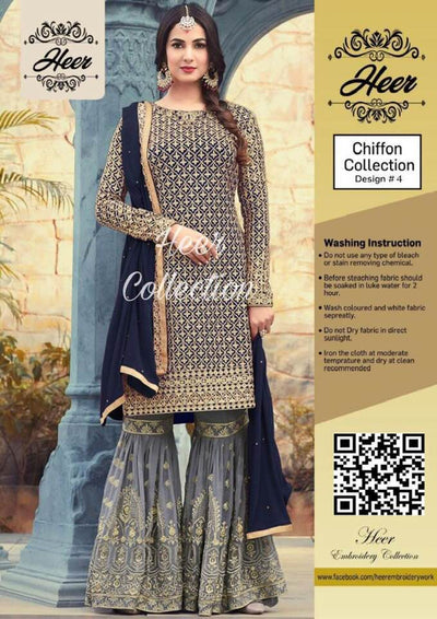 Heer Chiffon Dresses - Embroidered Chiffon Dupatta - Replica - Unstitched