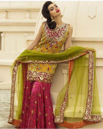 Mehndi Chiffon Dresses - Embroidered Net Dupatta - Replica - Unstitched