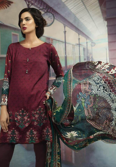Maria B Linen Dresses - Embroidered Printed Dupatta - Replica - Unstitched