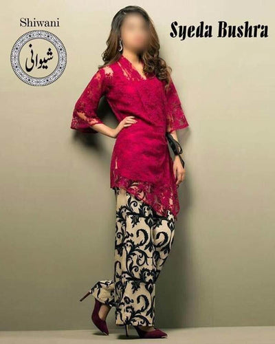 Syeda Bushra Cotton Dresses - Embroidered Chiffon Dupatta - Replica - Unstitched