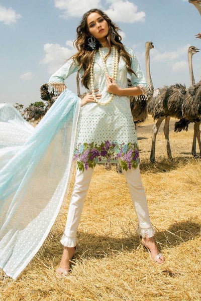 Sana Safinaz Lawn Dresses - Embroidered Broshia Dupatta - Replica - Unstitched