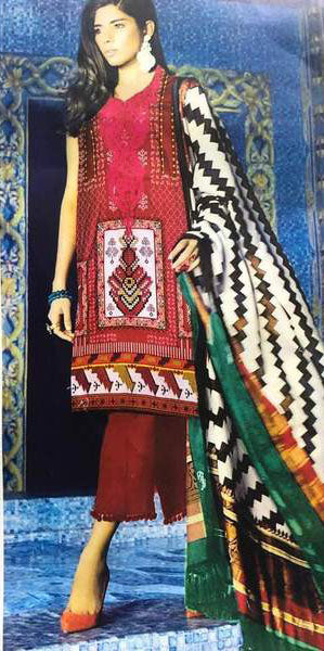 Party Wear Linen Dresses - Embroidered Velvet Dupatta - Replica - Unstitched