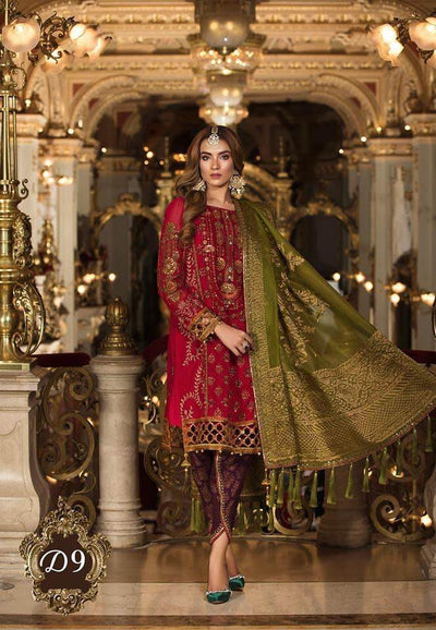 Maria B Chiffon Dresses - Embroidered Mysoori Dupatta - Replica - Unstitched