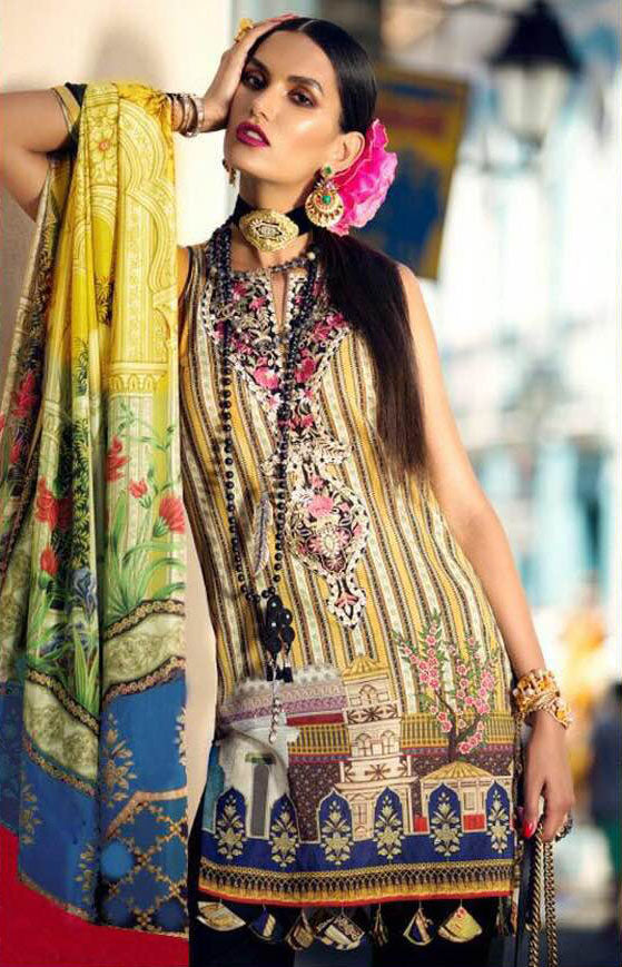 Elan Lawn Dresses - Embroidered Silk Dupatta - Replica - Unstitched