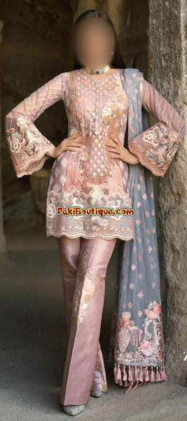 Zainab Chottani Cotton Dresses - Embroidered Net Dupatta - Replica - Unstitched