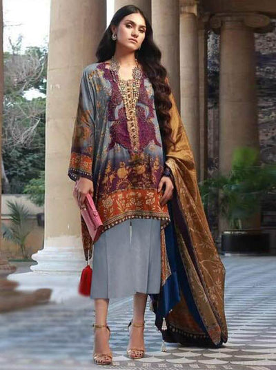 Sana Safinaz Silk Printed Dresses - Printed Medium Silk Dupatta  - Replica - Unstitched