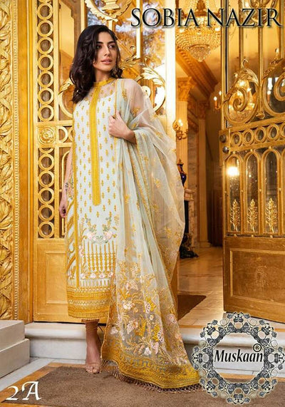 Sobia Nazir Collection Fabric Lawn Chiffon Dupatta Cambric Cotton Trouser - Replica - Unstitched